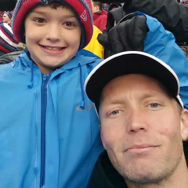 Scott Linnell and his nephew at a New England Patriots game